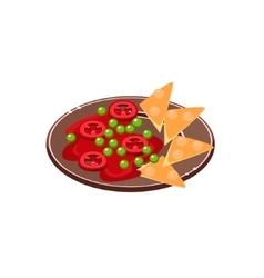 Salsa with nachos on plate vector