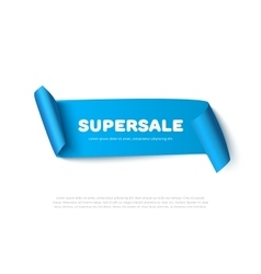 Blue curved paper ribbon banner with rolls and vector