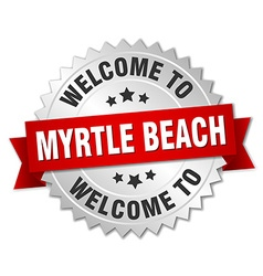 Myrtle beach 3d silver badge with red ribbon vector