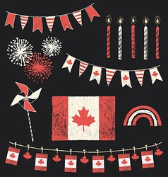 Canada day patriotic chalk flag party set vector