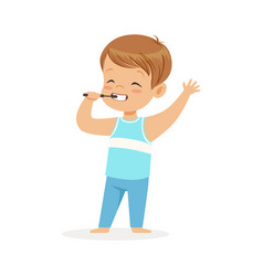 adorable cartoon boy brushing his teeth kids vector image