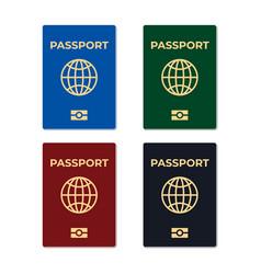 Biometric passport set isolated vector