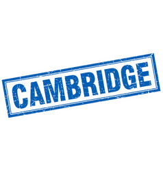 Cambridge blue square grunge stamp on white vector
