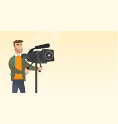 Cameraman with a movie camera on tripod vector