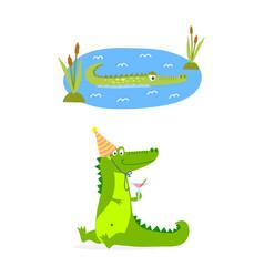 cartoon green crocodile funny predator australian vector image vector image