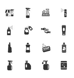 chemicals store icon set vector image vector image