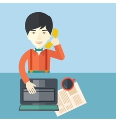Chinese office man sitting at his working desk vector