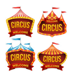 Circus sign set night carnival sign vector