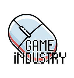 Color vintage game industry emblem vector