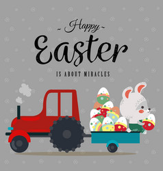 Easter bunny sit on tractor with a cart full of vector