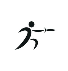 fencing icon monochrome on white background vector image vector image
