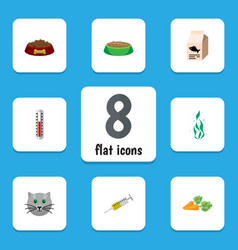 flat icon animal set of rabbit meal temperature vector image vector image