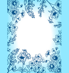 flowers and plants engraving vector image vector image