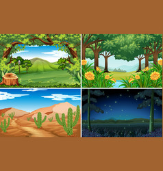four scenes of forest and desert vector image