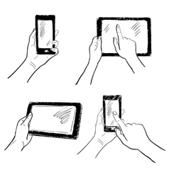 Hands touchscreen sketch set vector image vector image