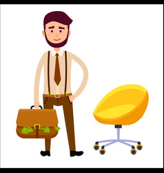 Hipster boy with briefcase full of money art theme vector