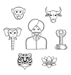 Indian nature and national symbols icons vector