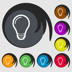 Light bulb icon sign Symbol on eight colored vector image