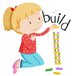 Little girl stacking the blocks vector