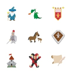 Military armor icons set cartoon style vector image vector image