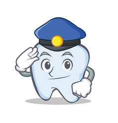 Police tooth character cartoon style vector