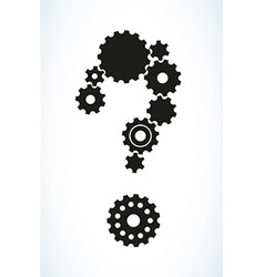 question mark created from cog wheels vector image vector image