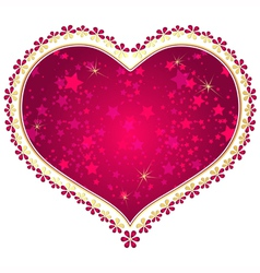 Red and gold vintage valentine frame vector image