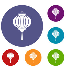 Red chinese lantern icons set vector