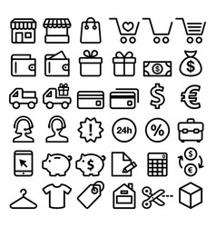 shopping line icons set buying online store vector image