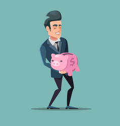 Successful businessman with pink piggy bank vector