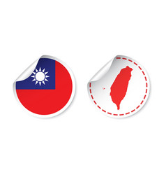 Taiwan sticker with flag and map label round tag vector