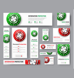 template of banners with lock from the safe vector image vector image