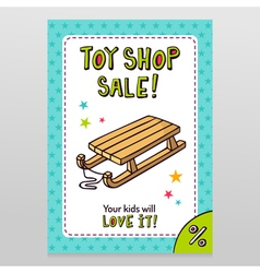 Toy shop sale flyer design with kids sleigh vector