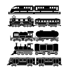 Train sky train subway icons set vector