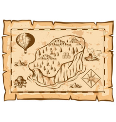 treasure map with island and balloon vector image