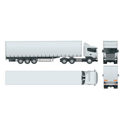 Truck trailer with container cargo delivering vector