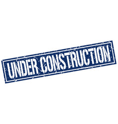 Under construction square grunge stamp vector