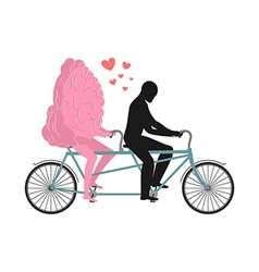 Brain on tandem lovers of cycling man rolls mind vector
