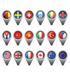 World flags pointer set vector image