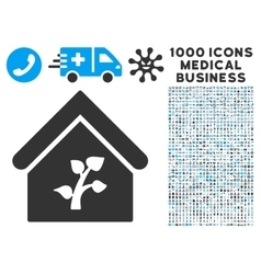 Greenhouse building icon with 1000 medical vector