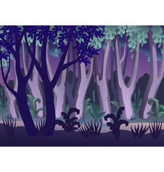 Mysterious night forest landscape vector