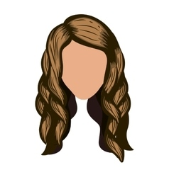 silhouette front face with wavy light brown hair vector image