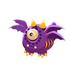 Purple fantastic friendly pet dragon with four vector