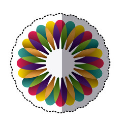 Colorful flower with petals icon vector
