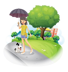 A lady holding an umbrella with a dog along the vector image