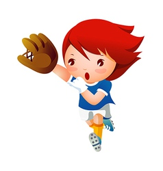 Girl playing baseball vector