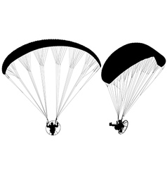 Paraglider with paramotor silhouette vector