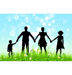 Green grass and blue sky with family silhoue vector