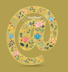 Romantic symbol at with flowers text and necklace vector