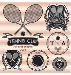 set of emblems on big tennis vector image